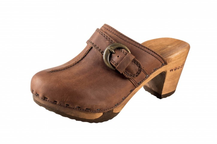 Woody Holzclogs Christina Tabacco für Damen