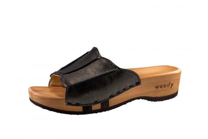 Woody Holzpantolette Anna antracite für Damen