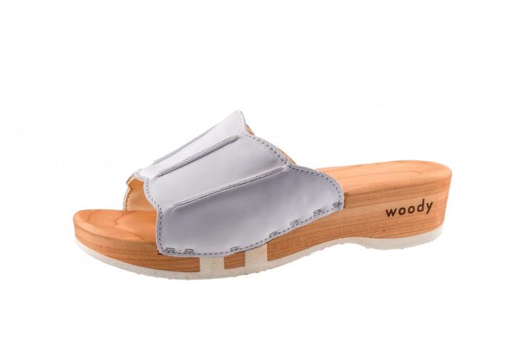 Woody Holzpantolette Anna weiss für Damen