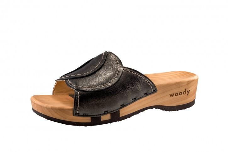Woody Holzpantolette Vanessa antracite für Damen