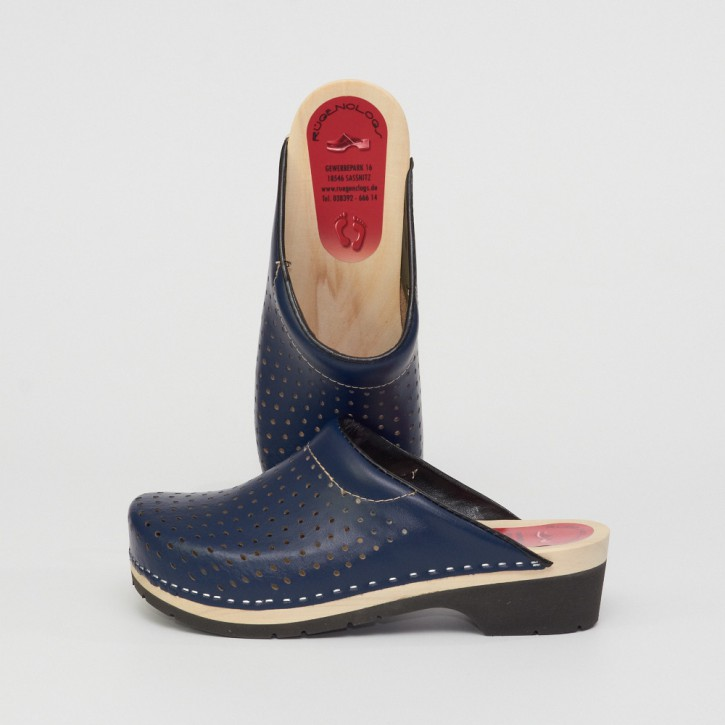 PU Clogs marineblau & Luftlöcher