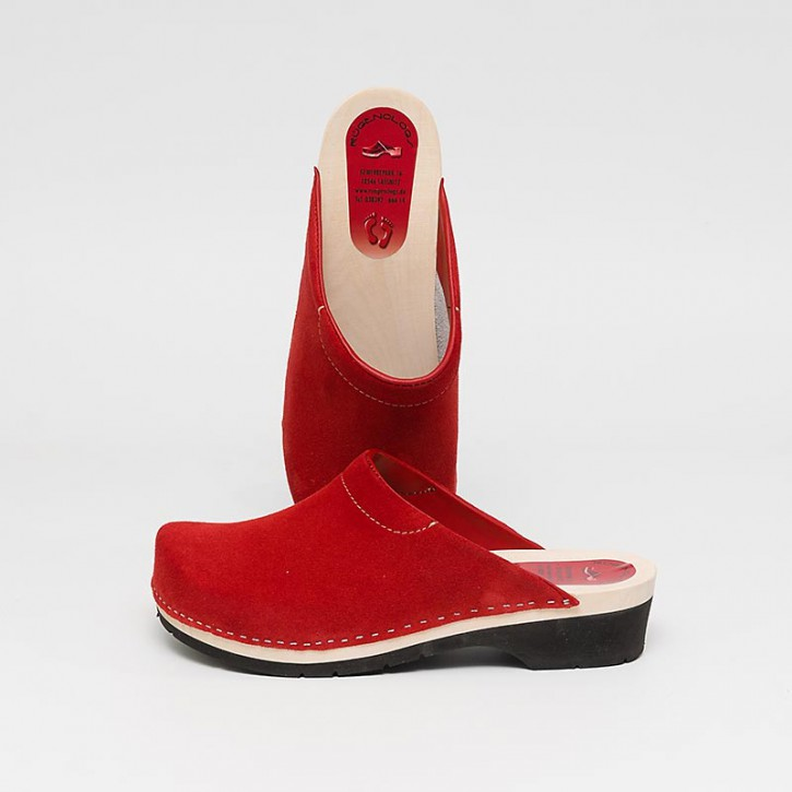 PU Clogs rot Velours