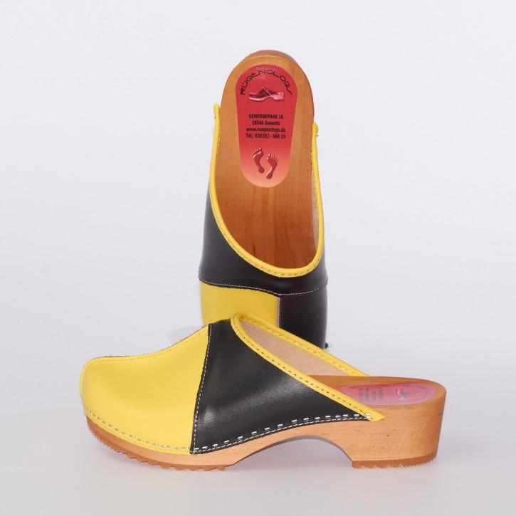 Clogs Holzclogs schwarz-gelb