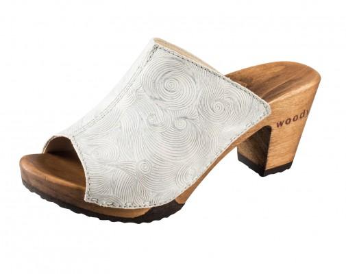 Woody Holzclogs Elly Namaste bianco für Damen