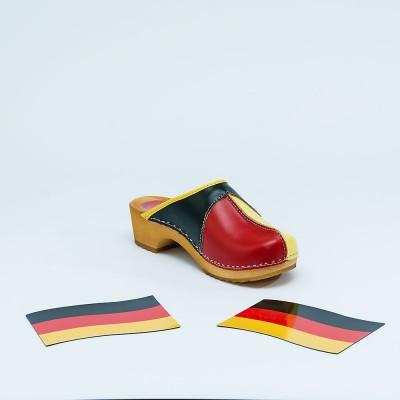 Clogs Holzclogs schwarz rot gold
