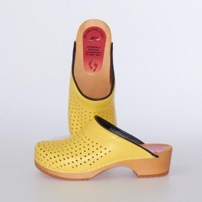 Clogs Holzclogs gelb gepolsterter Spann Luftlöcher