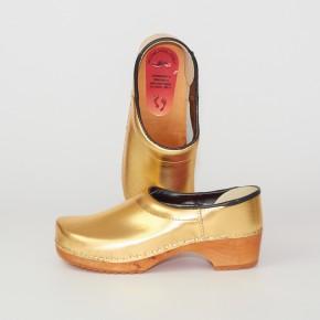 Clogs Holzkaps gold