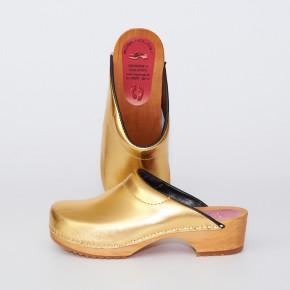 Clogs Holzclogs gold gepolsterter Spann