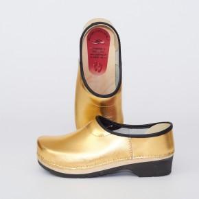 Clogs PU Kaps gold schwarze Sohle