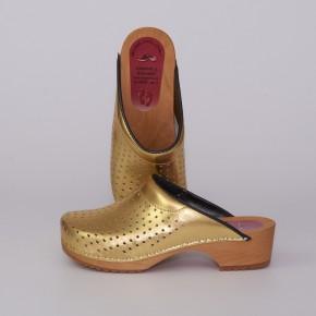 Clogs Holzclogs gold gepolsterter Spann Luftlöcher