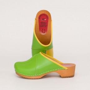 Clogs Holzclogs grün-gelb