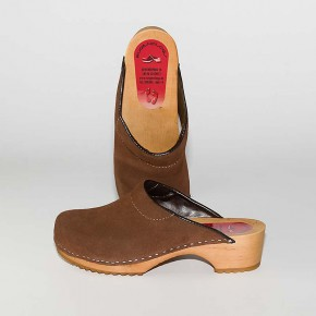 Clogs Holzclogs braun Veloursleder