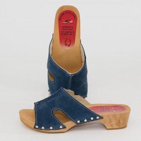 Holzclogs Pantolette blau Velours für Damen
