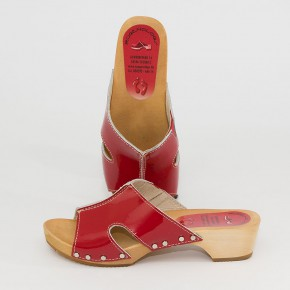 Holzclogs Pantolette rot Lack für Damen