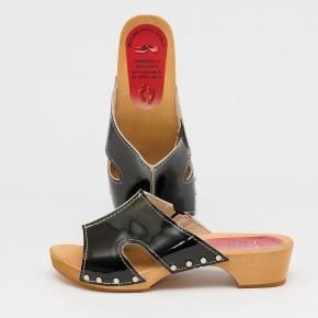 Holzclogs Pantolette schwarz Lack für Damen