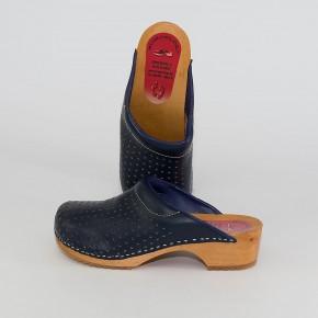 Clogs Holzclogs marineblau gepolsterter Spann Luftlöcher