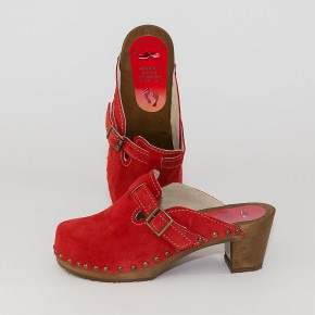 "Holzclogs ""City-Heels-Clogs"" rot Velours"