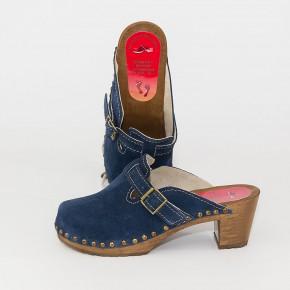 """Holzclogs """"City-Heels-Clogs"""" blau Velours"""