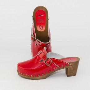 "Holzclogs ""City-Heels-Clogs"" rot Lack"