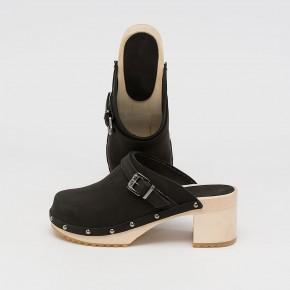 Holzclogs High Heels schwarz Nubuk