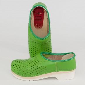 Clogs PU Kaps grün & Luftlöcher